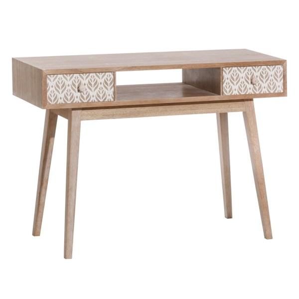 Consola escritorio nórdica blanca y natural de madera