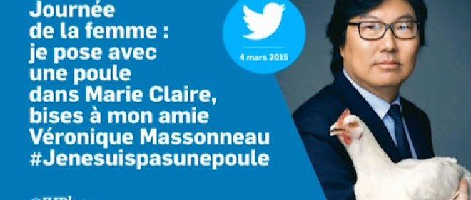 """Le senateur ecolo Jean-Vincent Place pose avec une poule dans """"Marie Claire""""."""