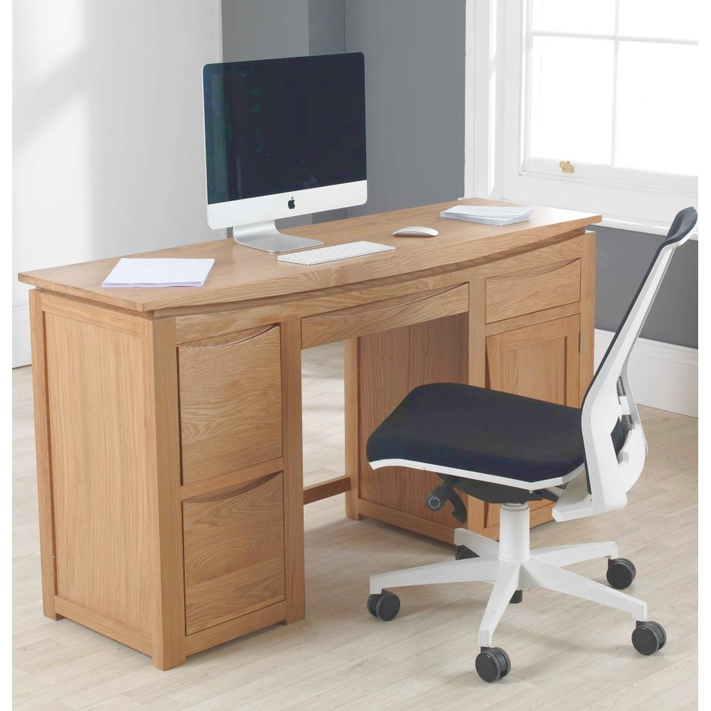 Crescent Solid Oak Furniture Large Computer Desk Home Office