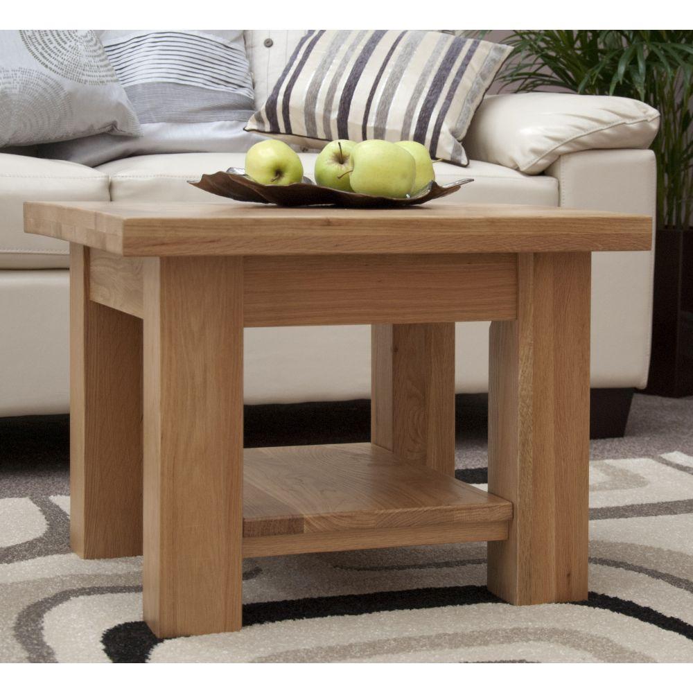 torino solid oak square coffee table