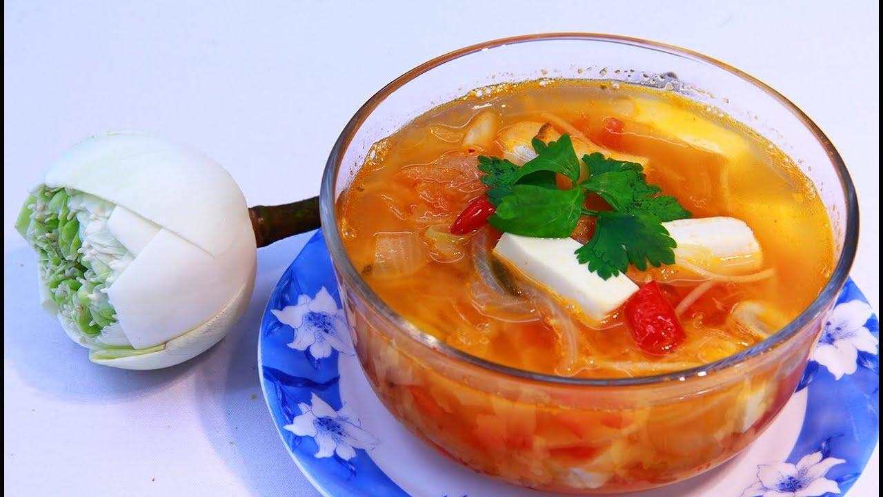 Canh kim chi chay - món ăn ngon và đơn thuần và giản dị từ cải thảo