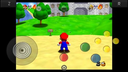 Super Mario 64 as played on RetroArch for Android