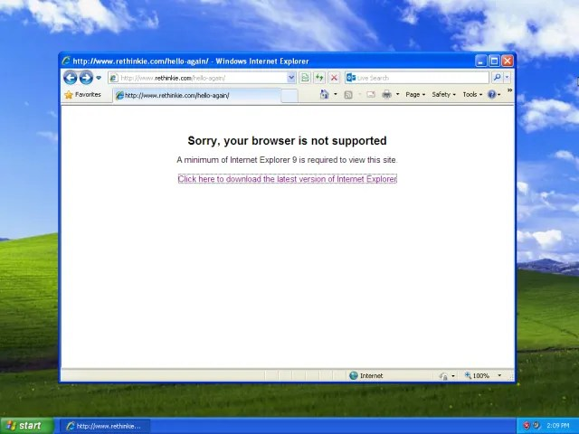 Internet Explorer 8 не поддерживается в Windows XP
