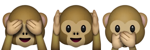 monkeys see hear speak no evil emoji emoticon