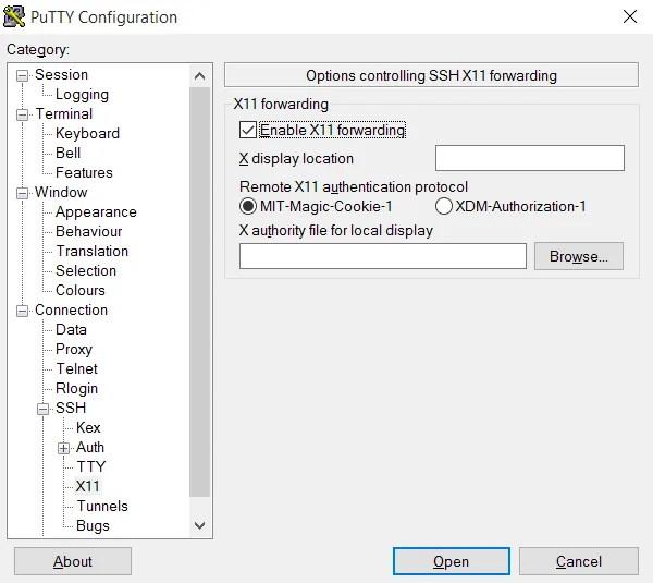 Включите пересылку X11 для использования удаленного рабочего стола с SSH