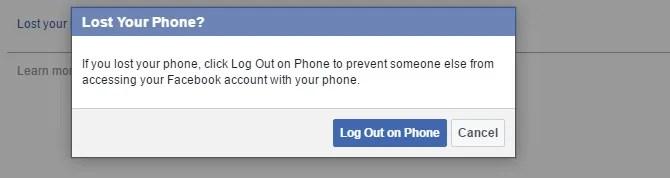 Facebook Lost Phone