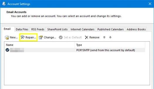 Repairing Email in Outlook Account Settings