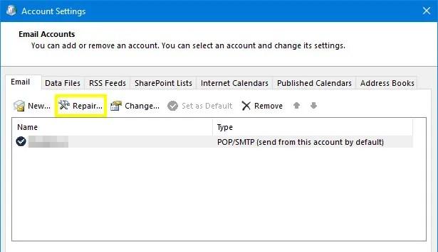 Восстановление электронной почты в настройках учетной записи Outlook