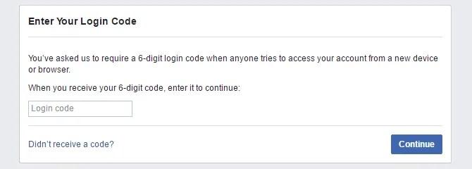 Введите окно вашего кода входа, как показано на настольной версии Facebook.
