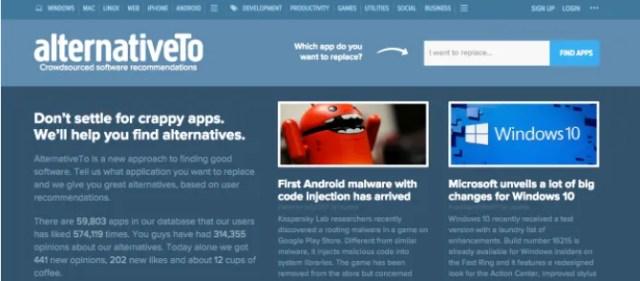 The Best Websites on the Internet AlternativeTo 1