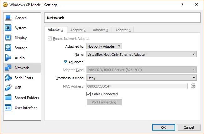 xp mode adapter settings