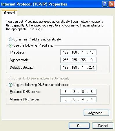 windows xp tcp/ip settings