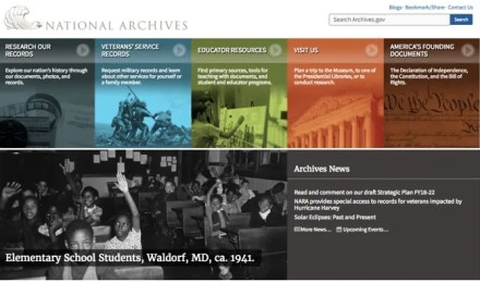 The National Archives and Records Administration website