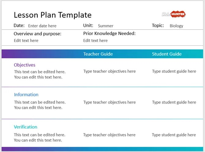 простой план урока шаблон PowerPoint