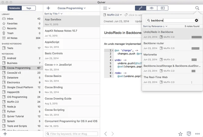programming notes app quiver