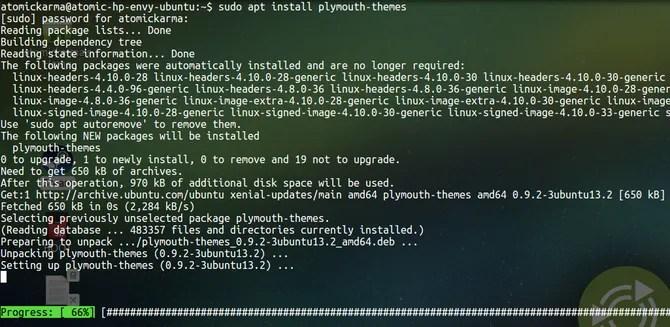 Установите plymouth-tools в Ubuntu