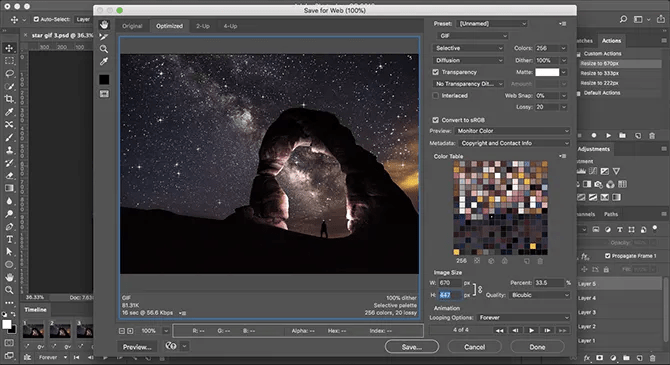save animated gif in photoshop