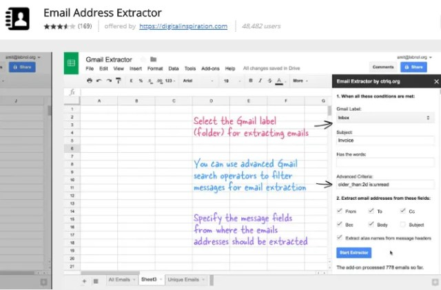 google sheets add-ons - Email address extractor