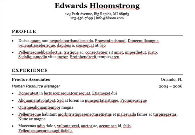 microsoft word resume templates - traditional elegance