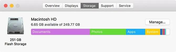 Управление хранением MacOS