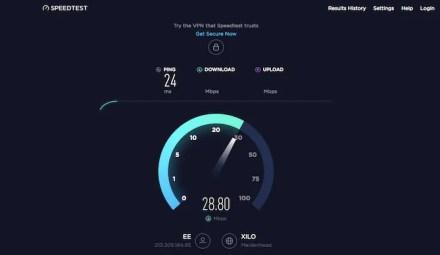 SpeedTest.net download speed - wifi speed test