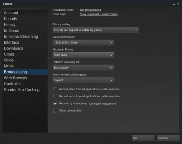 steam braodcasting 632x500 - How to Record and Stream Games Online in Windows 10