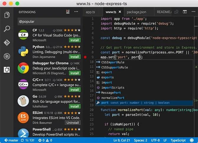 Visual Studio Code бесплатный текстовый редактор для Mac