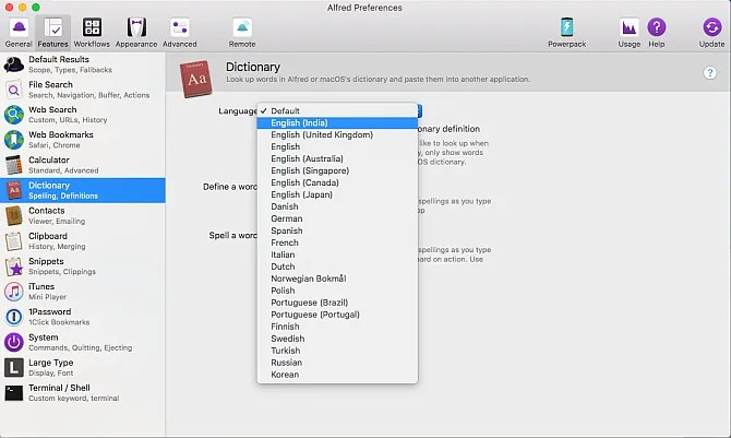 change the default dictionary in alfred - How to Search the Web Like a Pro Using Alfred for Mac