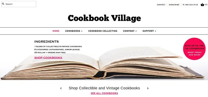 cookbook village 670x313 - The 20 Best Shopify Stores to Try Instead of Amazon or eBay