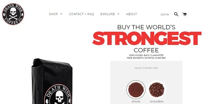 death wish coffee 670x340 - The 20 Best Shopify Stores to Try Instead of Amazon or eBay