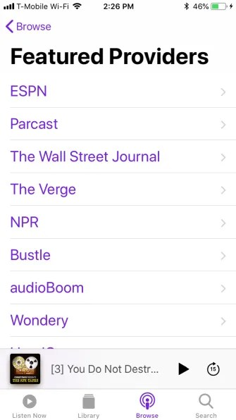 podcast featured providers 335x596 - A Guide to the (Surprisingly Excellent) iPhone Podcasts App