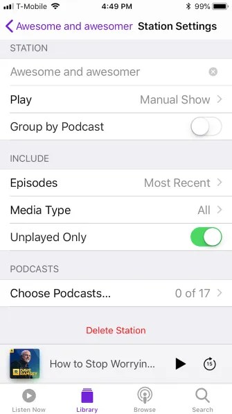 podcast library station creation 335x596 - A Guide to the (Surprisingly Excellent) iPhone Podcasts App
