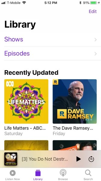 podcast library tab 335x596 - A Guide to the (Surprisingly Excellent) iPhone Podcasts App