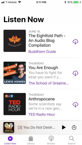podcast listen now tab 335x596 - A Guide to the (Surprisingly Excellent) iPhone Podcasts App