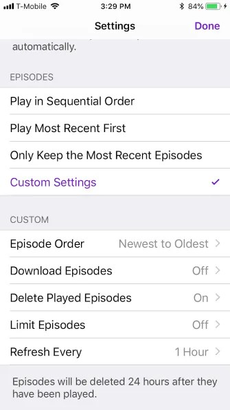 podcast series settings bottom 335x596 - A Guide to the (Surprisingly Excellent) iPhone Podcasts App