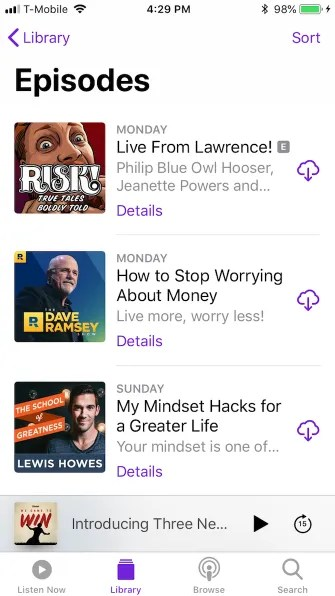 podcasts library episodes 335x596 - A Guide to the (Surprisingly Excellent) iPhone Podcasts App