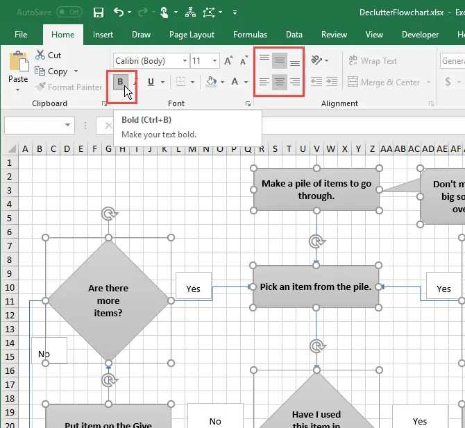 Format text in shapes using the Home tab in Excel