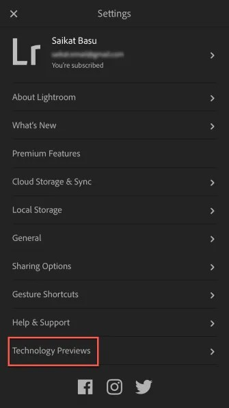 Tap Tech Previews 335x596 - How to Enable Technology Previews on Lightroom Mobile