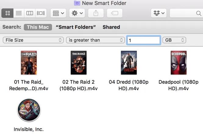 Mac Large Files Smart Folder