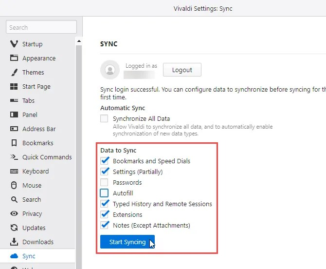 Start Syncing in Vivaldi on another computer