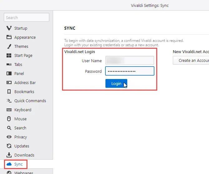 Log in to Vivaldi Sync on another computer