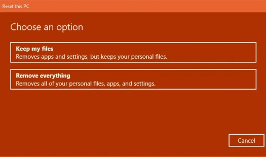 Keep my files or Remove everything
