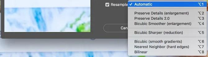 Photoshop image size resample options