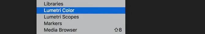 Premiere Pro Lumetri Color menu entry