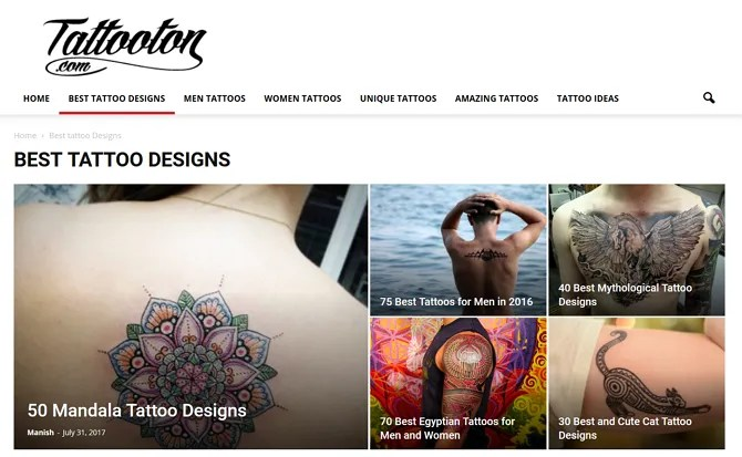 Tattooton Screenshot - The 10 Best Sites for Free Tattoo Designs and Ideas