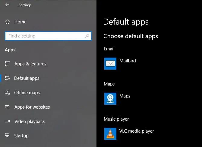 Страница настроек приложений Windows 10 по умолчанию