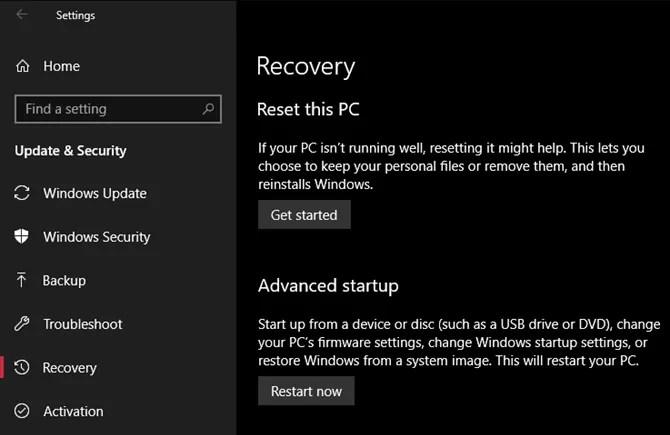 خيارات استرداد Windows 10