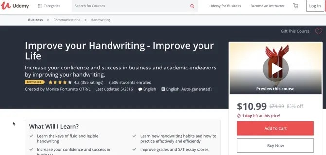 Udemy Handwriting Course - How to Improve Your Handwriting: 8 Resources for Better Penmanship