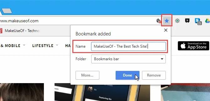 Aggiungi una nota a un segnalibro Nome in Chrome