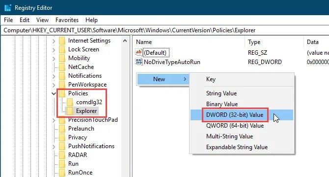 Aggiungi un nuovo valore DWORD nell'Editor del Registro di sistema di Windows 10